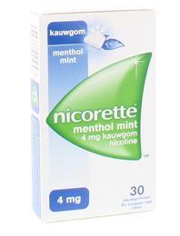 Nicorette kauwgom 4mg Menthol Mint 30st