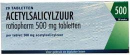 Acetylsalicylzuur Pch 500mg 20tb