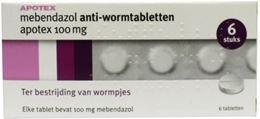 Afbeeldingen van Apotex mebendazol anti-wormtabletten 100mg 6tb